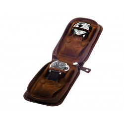 Leather Case/Travel Box for 2 lined up watches