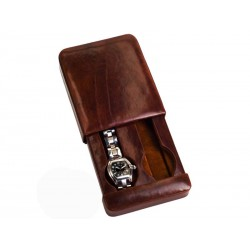 Leather Case/Travel Box for 2 flat-lying watches