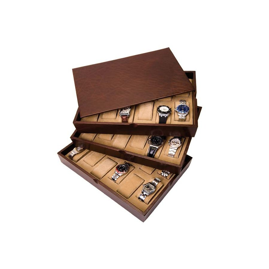 3 Stackable trays for 54 watches on cushions with support pads