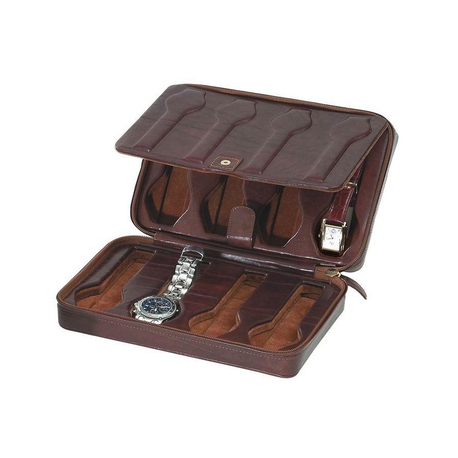 Leather Case/Travel Box for 8 flat-lying watches