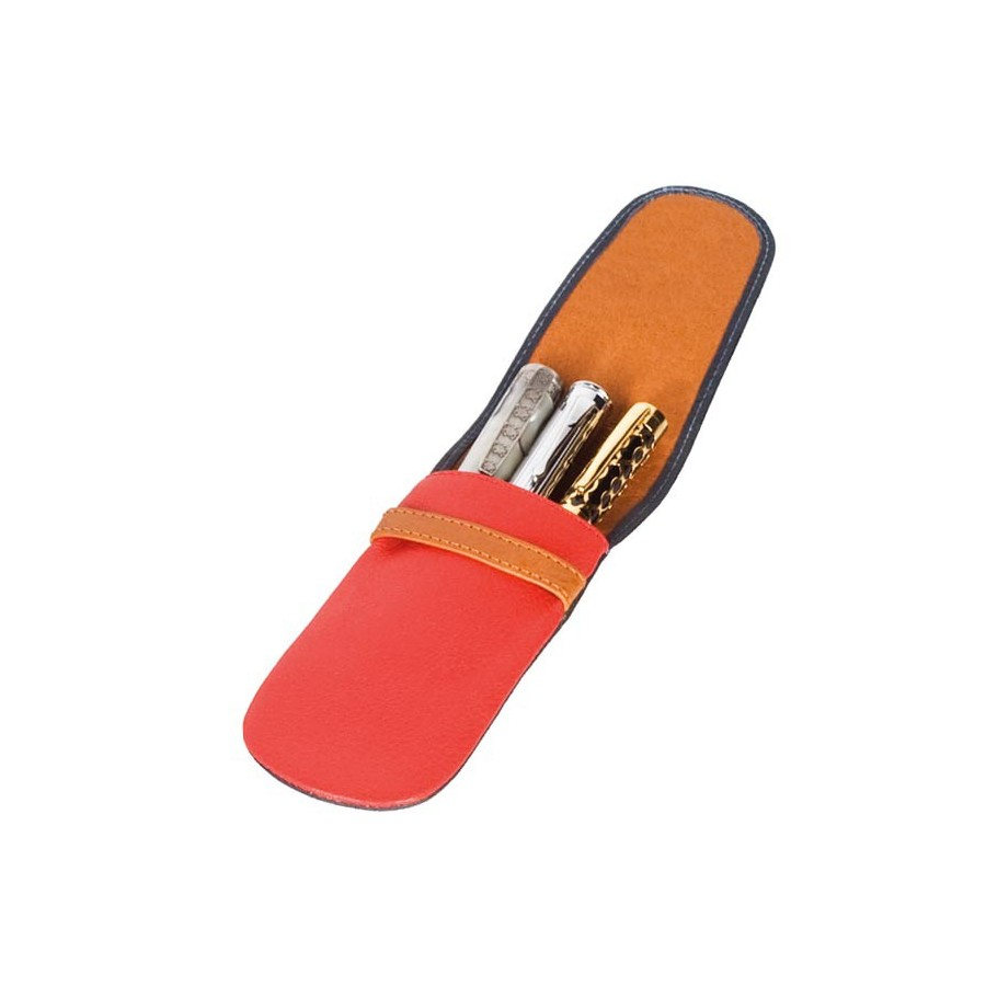 Multicolour pouch with flap for 3 fountain pens