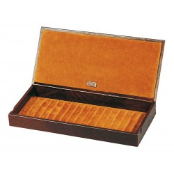 Box with a leather cover for 17 fountain pens arranged on 1 tray