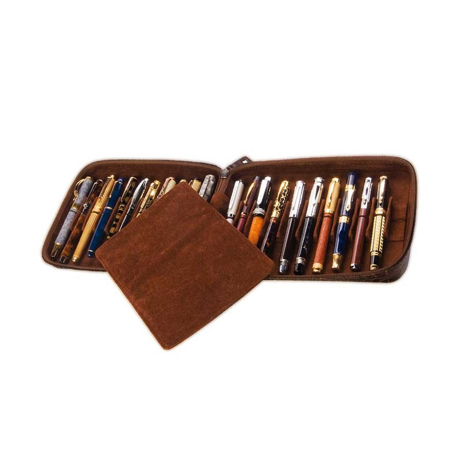 Flexible case for 36 fountain pens with movable divider