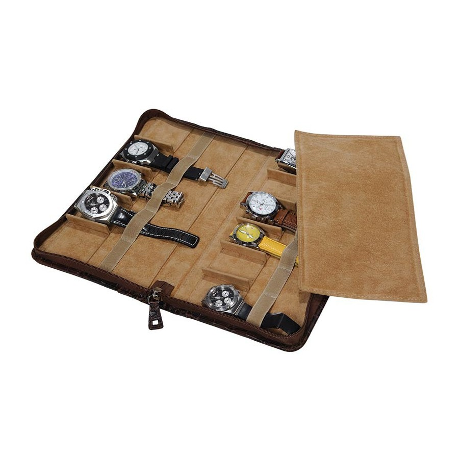 Leather Case/Travel Box for 11 flat-lying watches