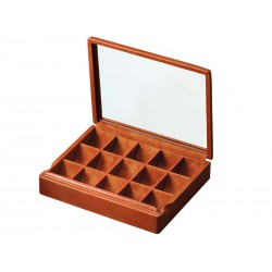 Box with glass lid for 8 pairs of cufflinks arranged in different compartments