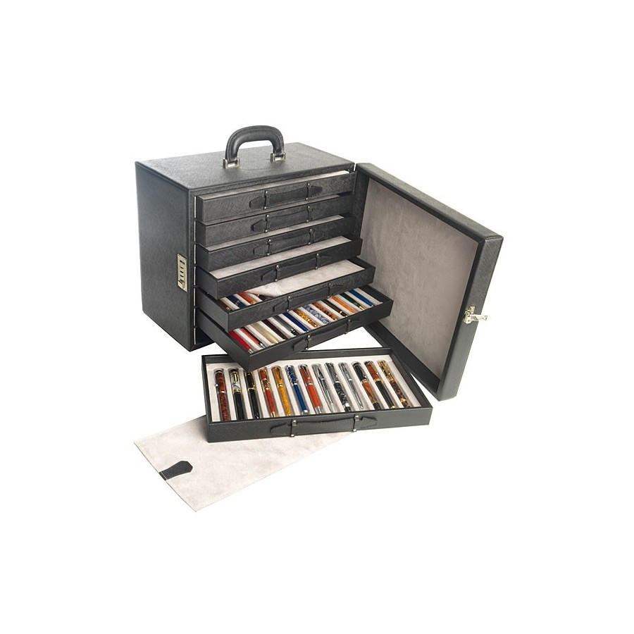 Briefcase for 91 fountain pens in trimmed slots