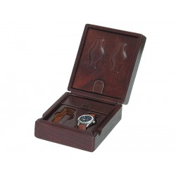 Leather Case / Box for 2 special flat-lying watches + 2 special watches on flexible cushions