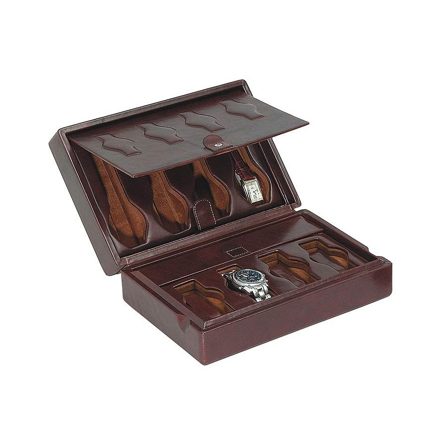 Leather case / Box for 4 special flat-lying watches + 4 special watches on flexible cushions