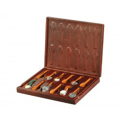 Leather case / Box for 12 special flat-lying watches arranged in 1 section with a leather cover