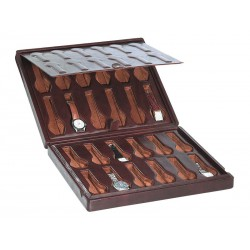 Leather case / Box for 24 special flat-lying watches arranged on 2 levels with a leather cover