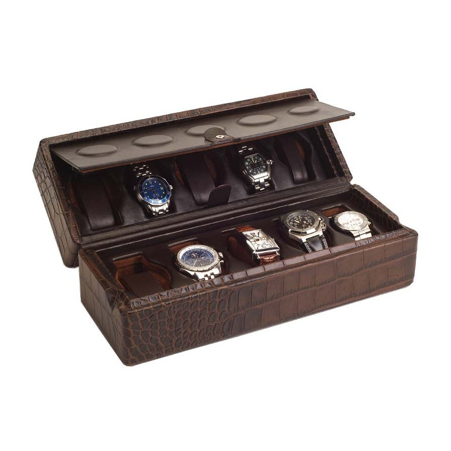 Case / Box for 10 watches on flexible cushions on 2 levels