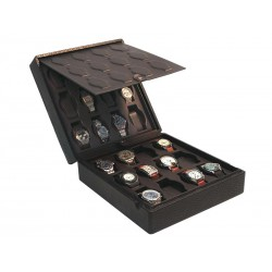Case / Box for 24 watches on flexible cushions on 2 levels