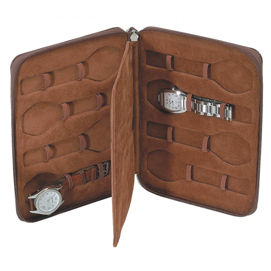 Leather Case/Travel Box for 8 flat-lying watches.