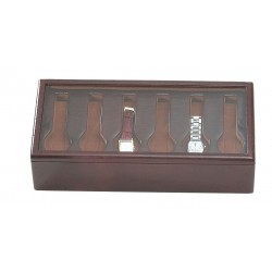BOX WITH A GLASS COVER FOR 6 WATCHES ON THE BOTTOM ON FLEXIBLE CUSHIONS + 6 FLAT-LYING WATCHES ON A REMOVABLE TRAY.