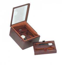 Box with glass cover for 2 special watches on the bottom on flexible cushions + 2 flat-lying watches on a removable tray