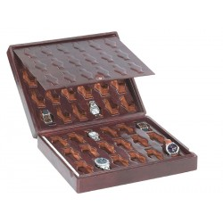 Leather case / Box for 36 special flat-lying watches on cushions arranged on 2 levels with a leather cover