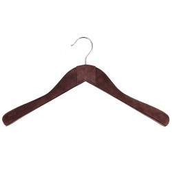 Anatomical hanger with shoulder pads, without bar (lined in leather)