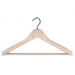 Hanger with notches for dresses and bar for pants (lined in leather)