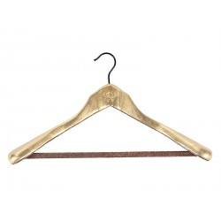 Anatomical hanger with shoulder pads and bar for pants (lined in leather)