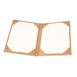 Menu folder for 2 pages DIN A4 fastened by 8 fixed corner flaps