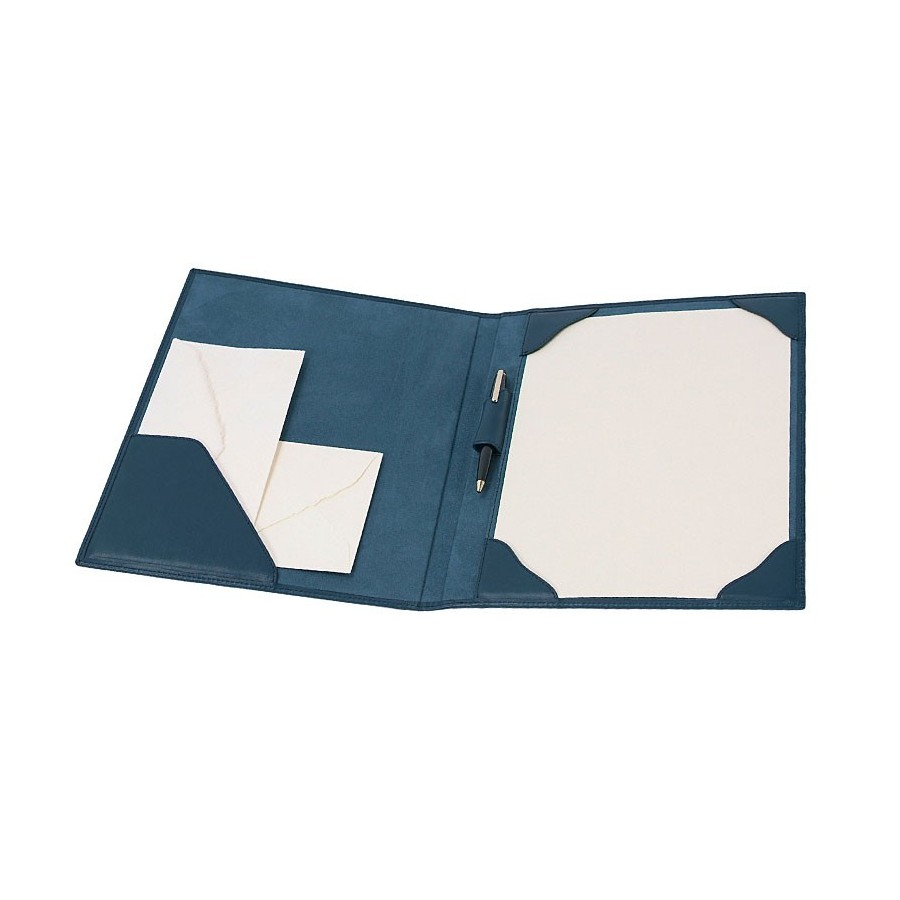 Stationery folder for 1 page DIN-A4 fastened by 4 fixed corner flaps, with interior pocket and pen loop
