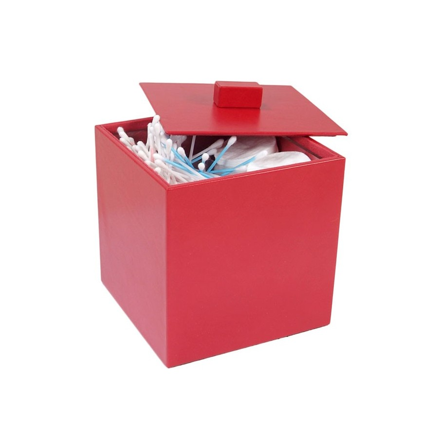 Box with lid for cotton, with interior methacrylate cube