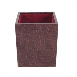Square wastepaper basket with interior lined with velvet