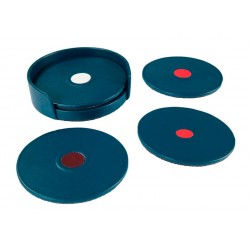 Open set with 4 rigid circular coasters. Color identification