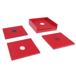 Open set with 4 rigid square coasters. Color identification