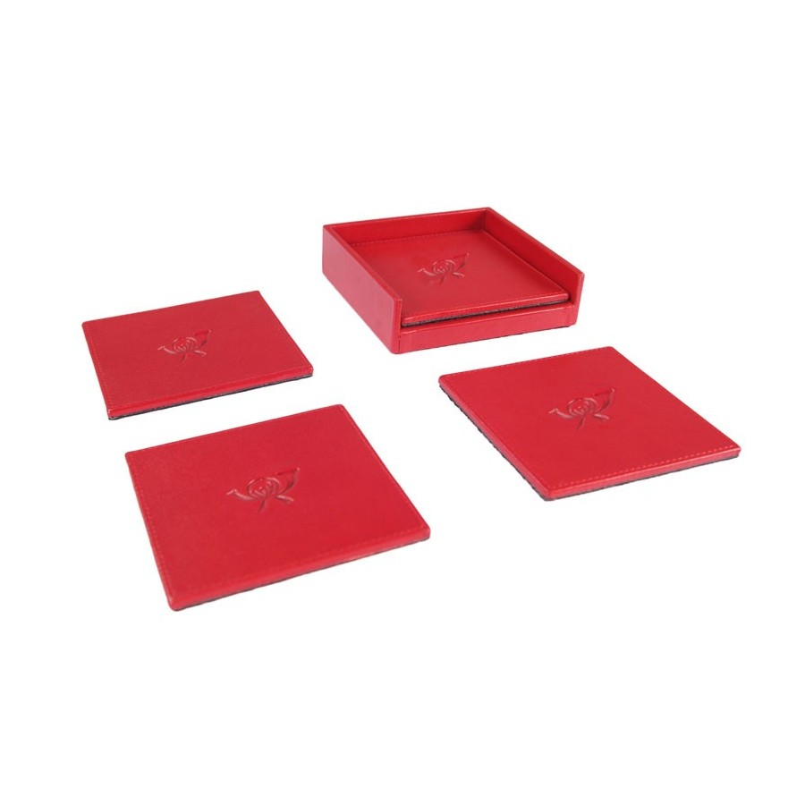 Open set with 4 rigid square coasters. Customization