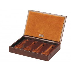 Box with a leather cover for 4 special flat-lying watches in 1 section