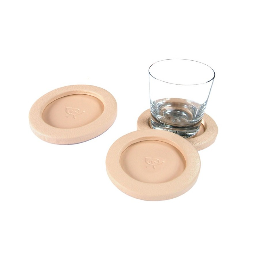 Circular coaster unit with a flange, for a whisky glass. Customization