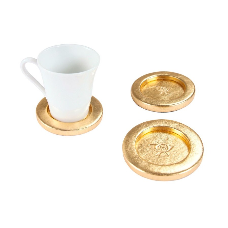 Circular coaster unit with a flange, for a coffee mug. Customization