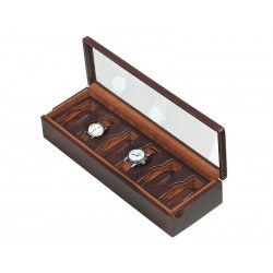 Box with a glass cover for 6 special watches on flexible cushions