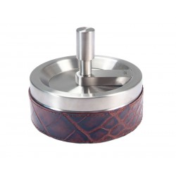 Circular stainless steel ashtray, with storage