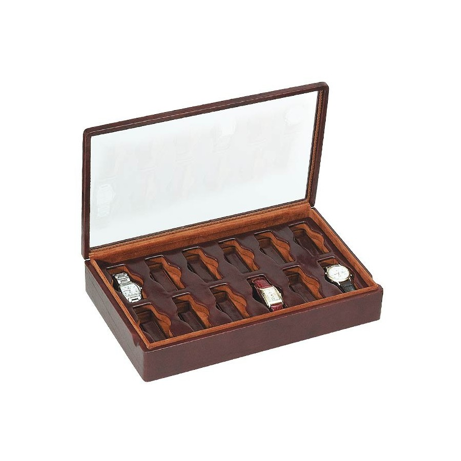 Box with a glass cover for 12 special watches on flexible cushions