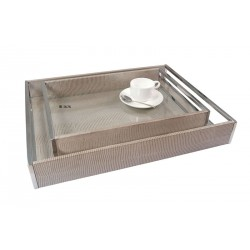 Tray with stainless steel handles