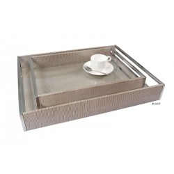 Large tray with stainless steel handles