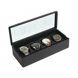 Box with a glass cover for 4 special watches on flexible cushions