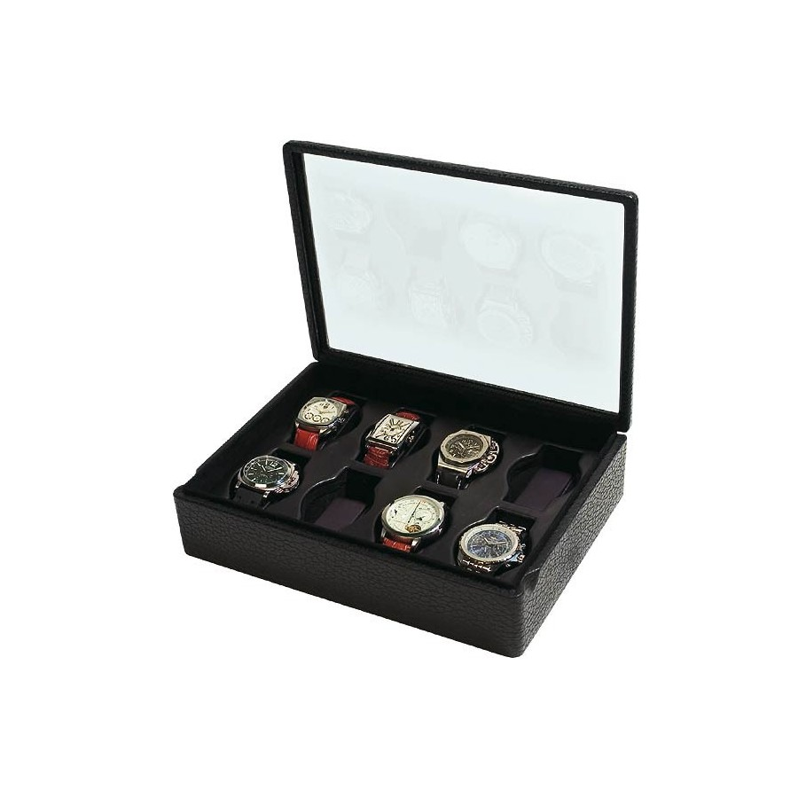Box with a glass cover for 8 special watches on flexible cushions