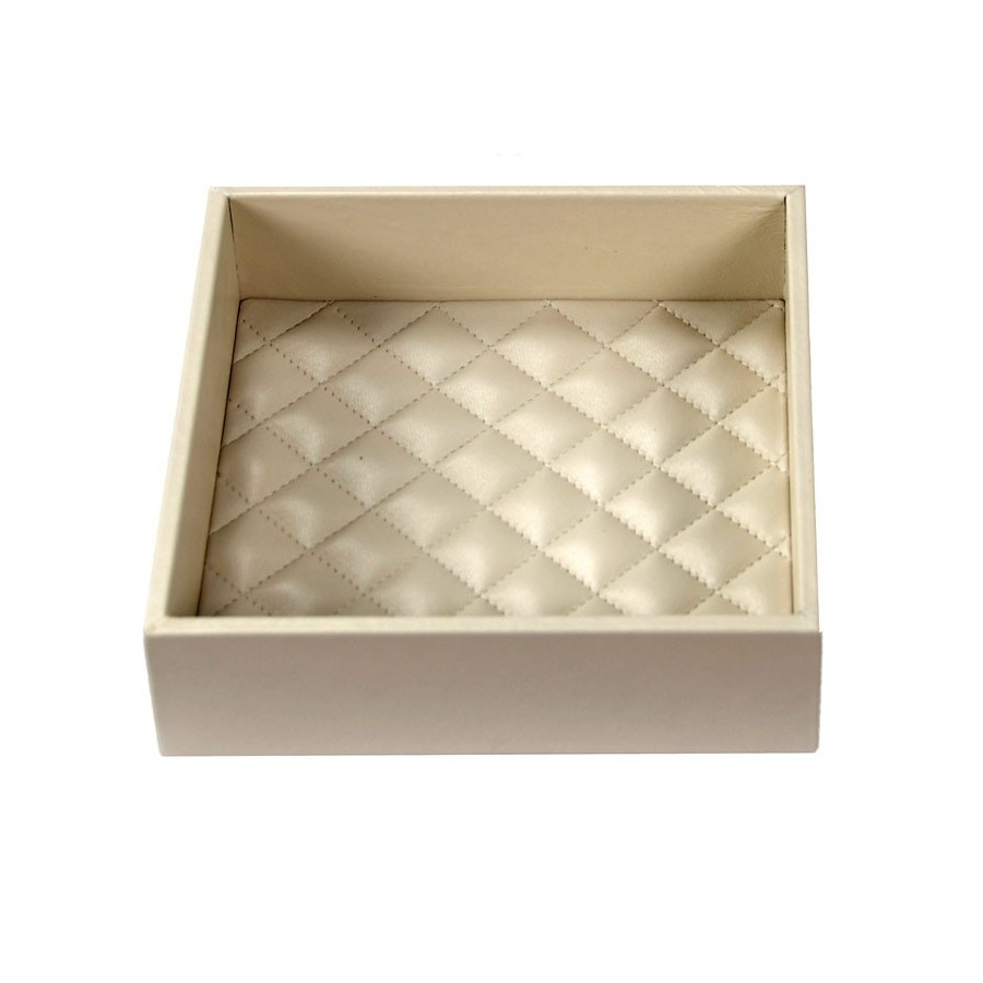 Square amenities tray with diamond stitched bottom