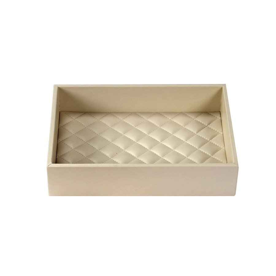 Rectangular amenities tray with diamond stitched bottom