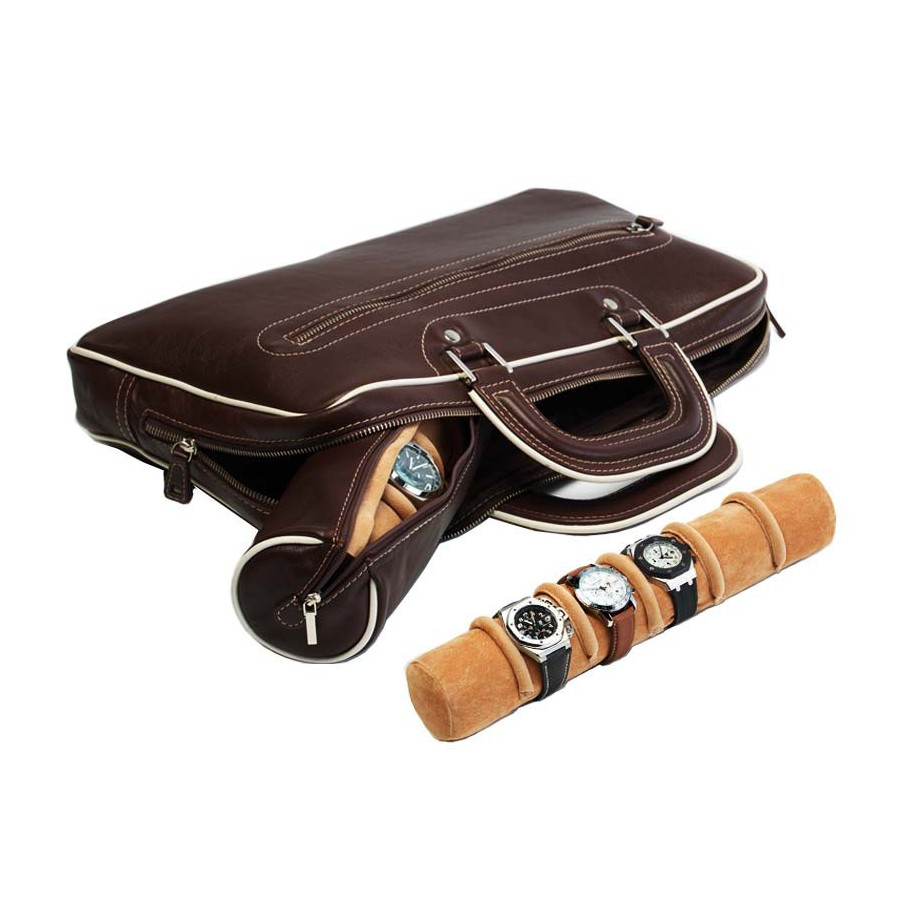 Briefcase with 3 rolls in a pouch for 17 special watches