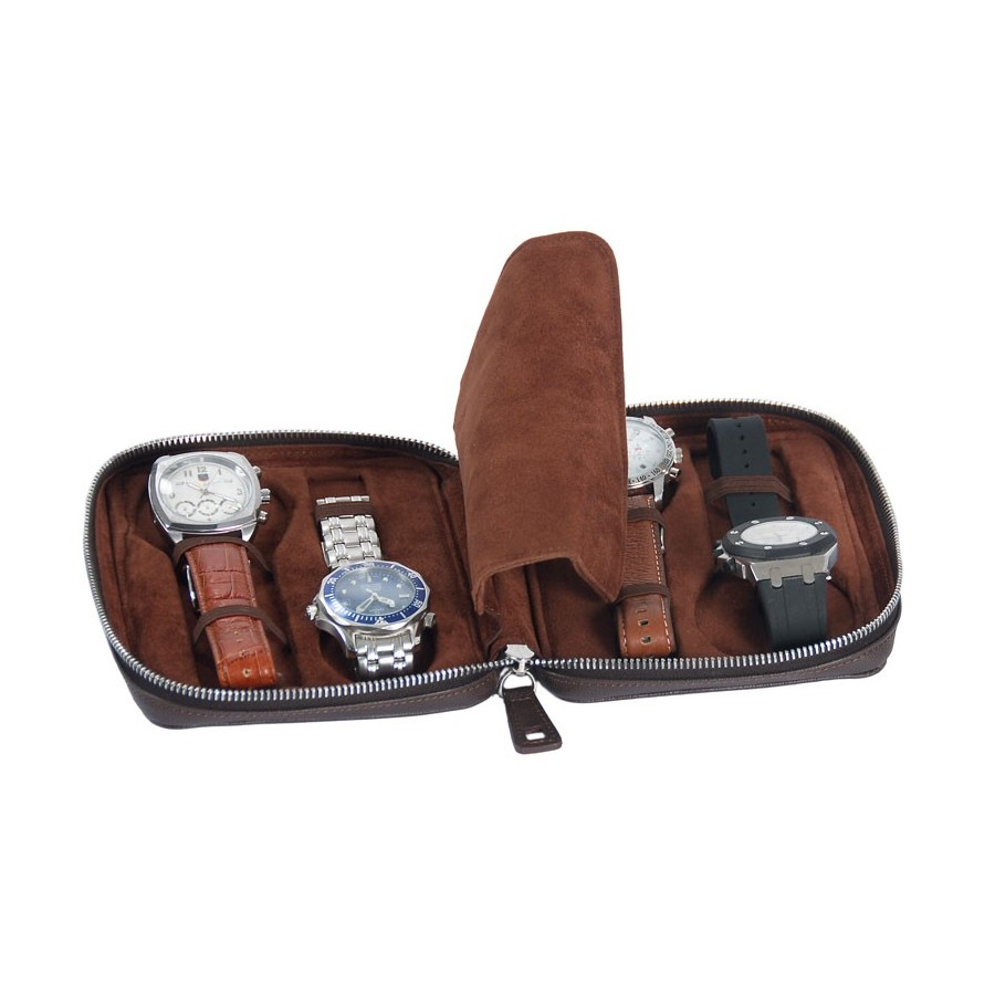 Leather Case / Travel Box for 4 flat-lying watches - Special thickness
