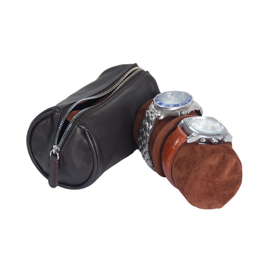 Leather case / Travel box for 2 flat-lying watches on a removable roll