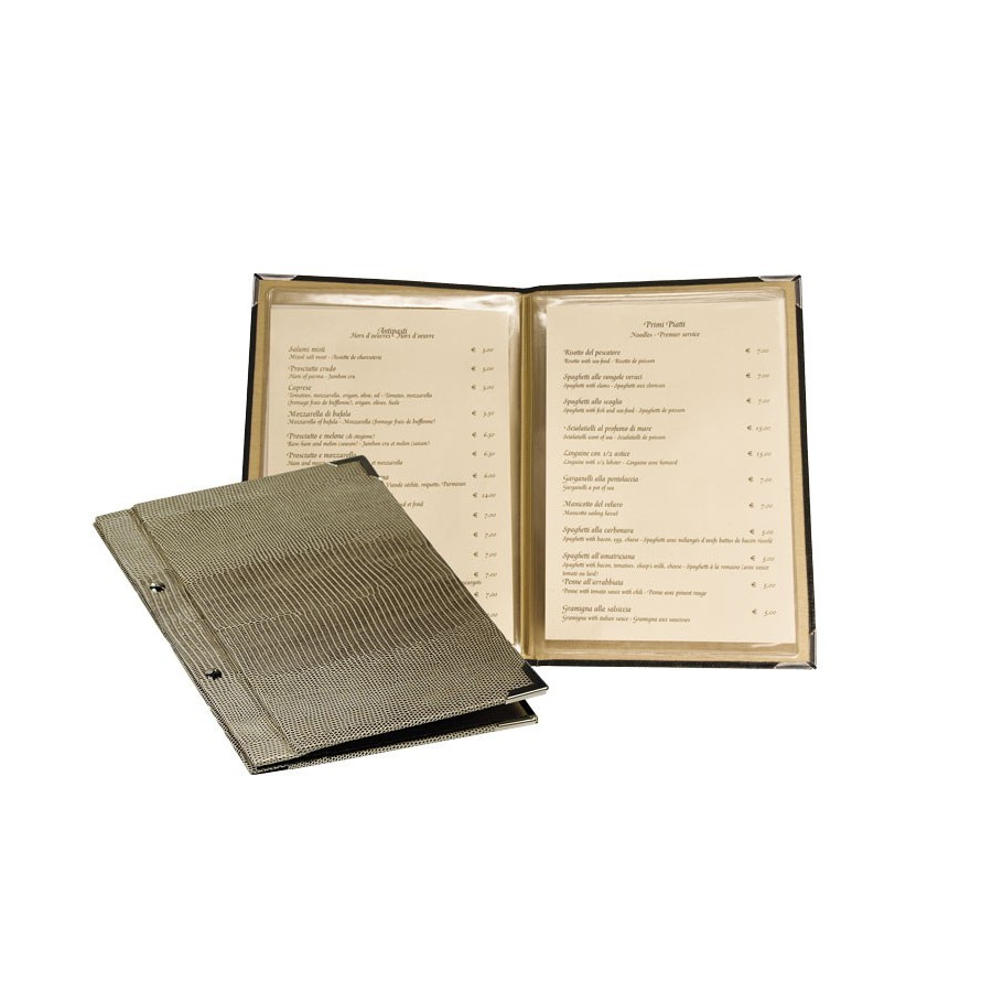 Folder with 5 plastic sleeves DIN A4, individual and removable, fasten by 2 screws with 4 metallic corners