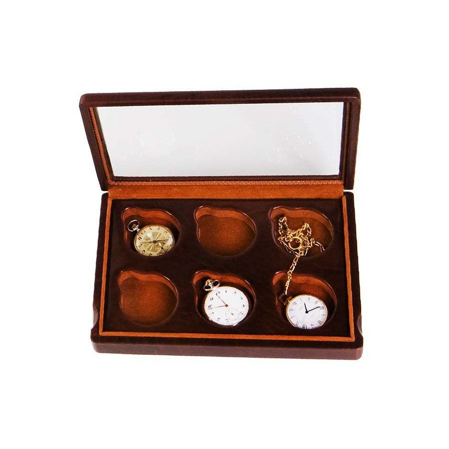 Box for 6 chain watches arranged on 1 section with a glass cover