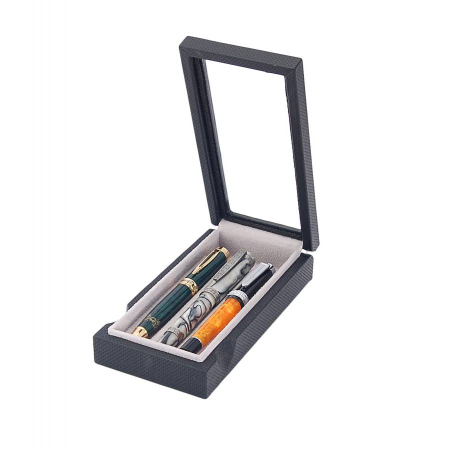 Box with glass cover for 3 fountain pens arranged on 1 tray.