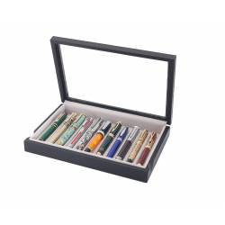 Box with glass cover for 11 fountain pens arranged on 1 tray