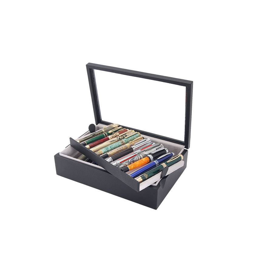 Box with glass cover for 23 fountain pens arranged on 2 trays